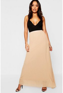 Camel beige Chiffon Pleated Maxi Skirt