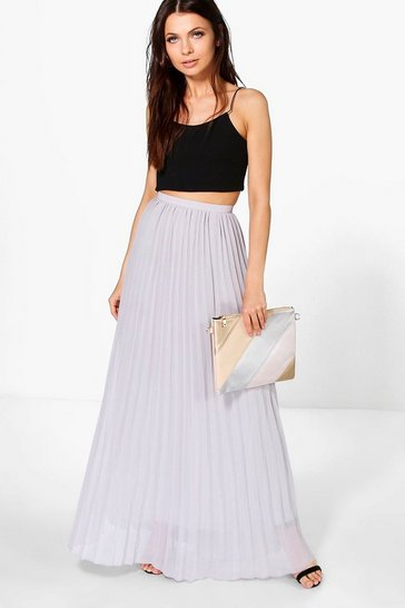 Dove grey Chiffon Pleated Maxi Skirt