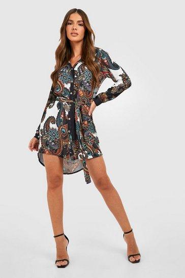 Multi Paisley Shirt Dress