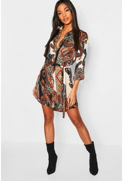 Multi Paisley Shirt Dress