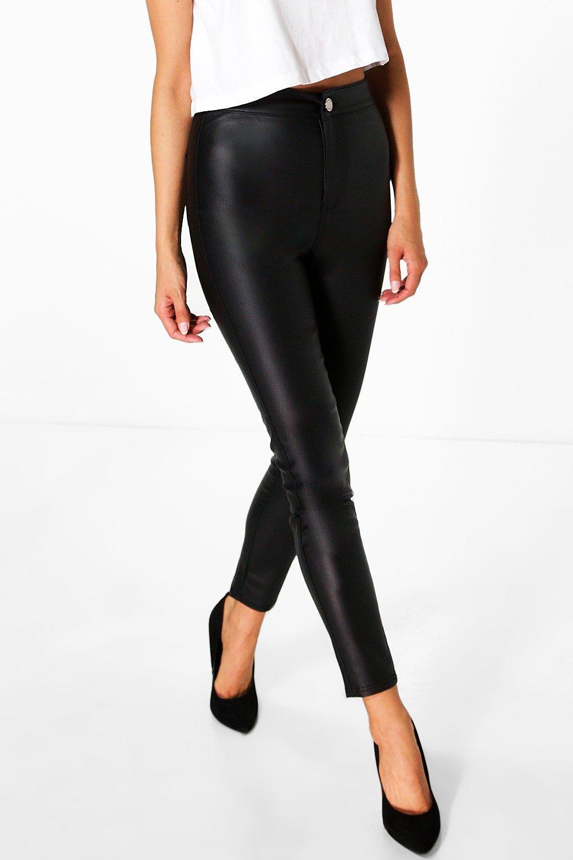 Petite Coated High Rise Skinny Jeans   Boohoo UK