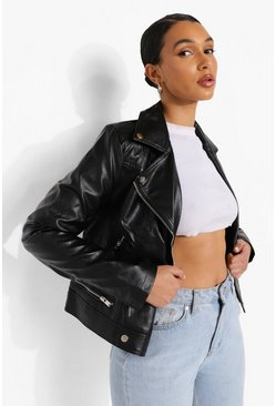 Black Faux Leather Biker Jacket With Quilt Detail