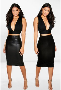 Black Amaya 2 Pack Leather Look & Jersey Midi Skirt