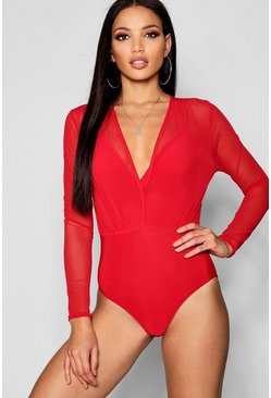 Red Mesh 2 In 1 Strappy Bodysuit