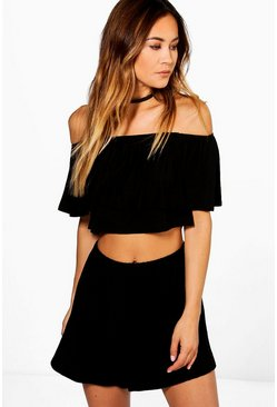 Black Off The Shoulder Top + Short Co-ord Set