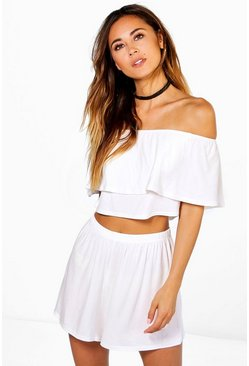 Cream Off The Shoulder Top + Short Two-Piece Set