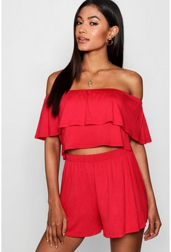 Red Off The Shoulder Top + Short Two-Piece Set