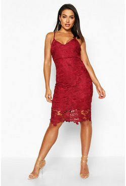 Berry red Boutique Crochet Lace Strappy Midi Dress