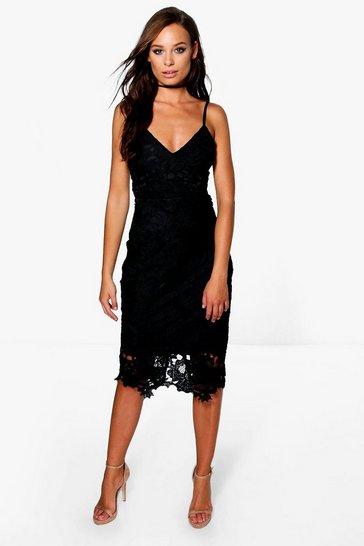 Black Boutique Crochet Lace Strappy Midi Dress