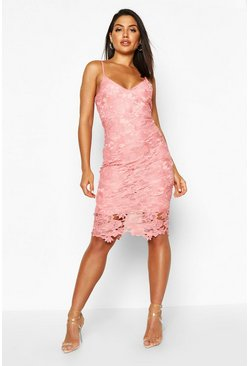 Blush pink Boutique Crochet Lace Strappy Midi Dress