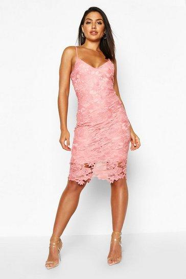 Blush pink Boutique Crochet Lace Strappy Midi Dress