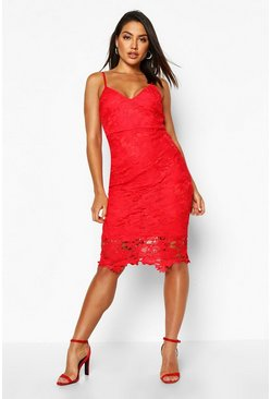 Red Boutique Crochet Lace Strappy Midi Dress