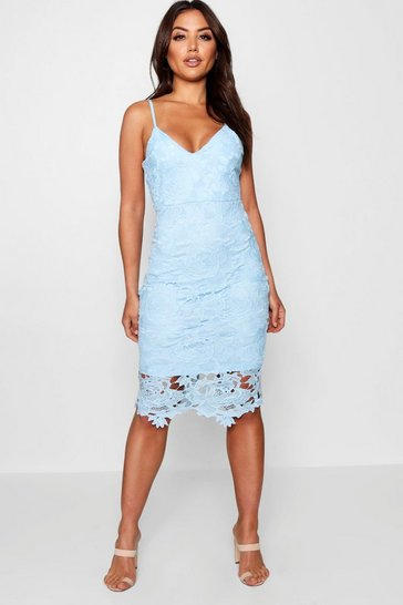 Sky blue Boutique Crochet Lace Strappy Midi Dress