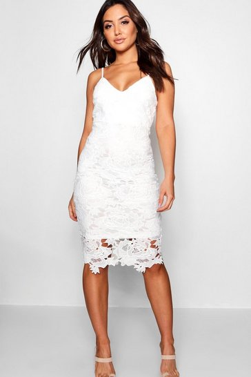 White Boutique Crochet Lace Strappy Midi Dress