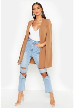 Camel beige Longline Tailored Crepe Cape