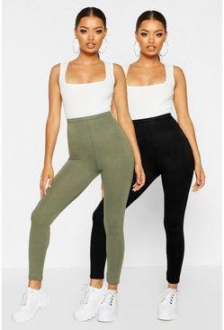 Khaki 2 Pack Basic Deep High Waist Leggings