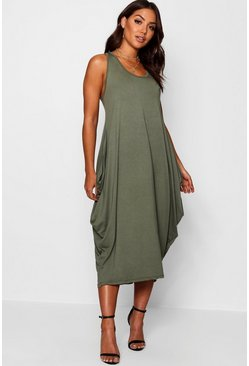 Khaki Racer Back Ruched Maxi Dress