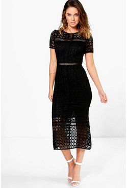 Black Boutique Crochet Midi Dress