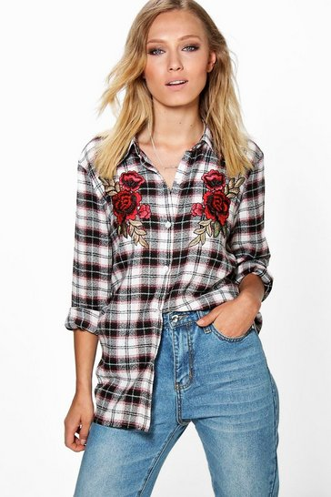 Multi Saskia Brushed Check Floral Applique Shirt