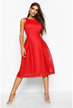 Red Boutique  Panelled Full Skirt Skater Dress