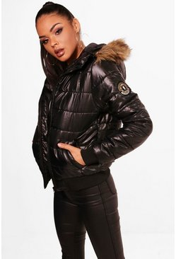 Black Faux Fur Hood Bubble Coat