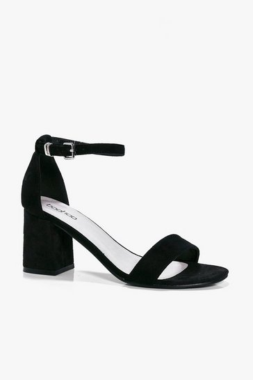 Black Low Block Heel Two Parts