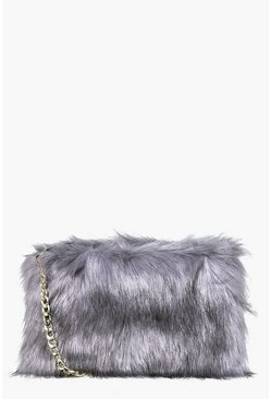 Grey Faux Fur Cross Body Bag