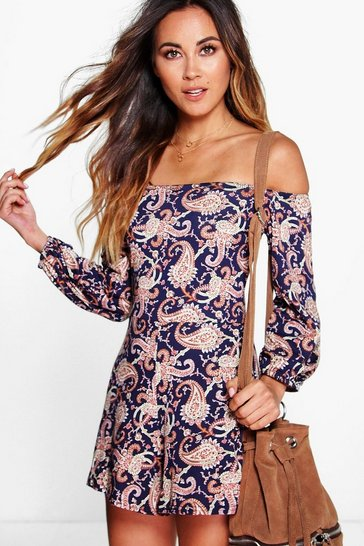 Multi Off The Shoulder Paisley Print Playsuit