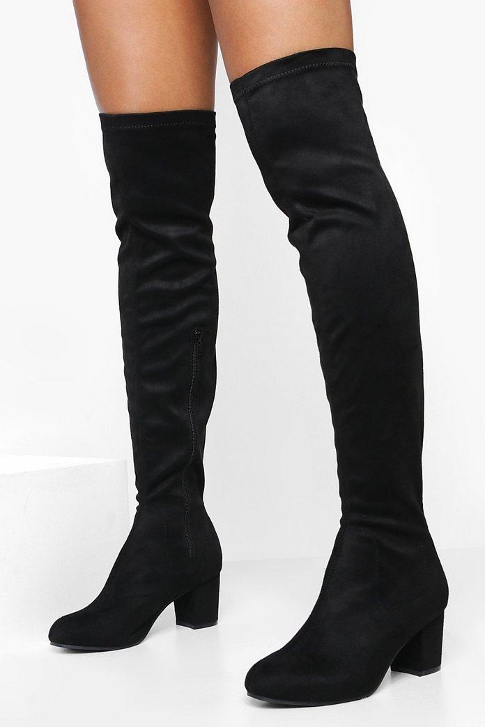 Block Heel Stretch Knee High Boots Boohoo