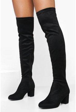 Details about  /46//47//48//49 Women/'s Cowboy Punk Patchwork Stretch Block Heel Knee High Boots L