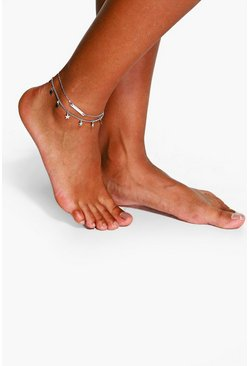 Silver Double Layered Star And Bar Anklet