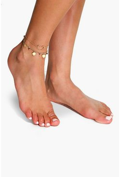 Gold metallic Double Layered Heart Pendant Anklet