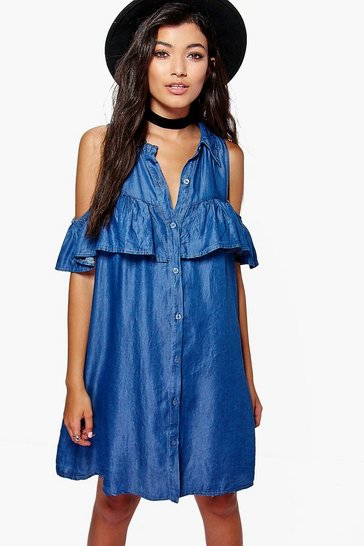 Blue Leah Ruffle Cold Shoulder Denim Dress