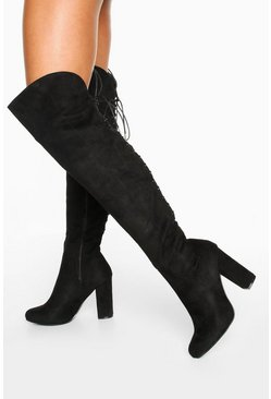 Black Lace Back Block Heel Over The Knee Boots