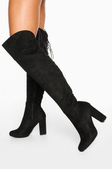 Black Lace Back Block Heel Over The Knee High Boots