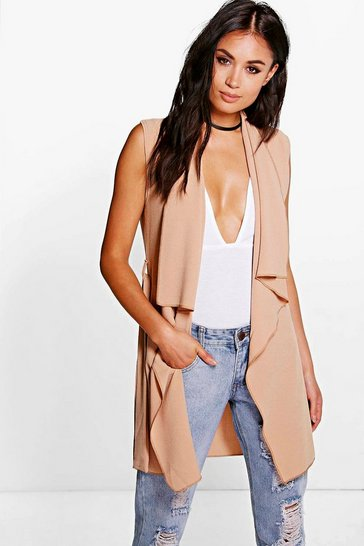 Camel beige Lexi Waterfall Belted Sleeveless Duster