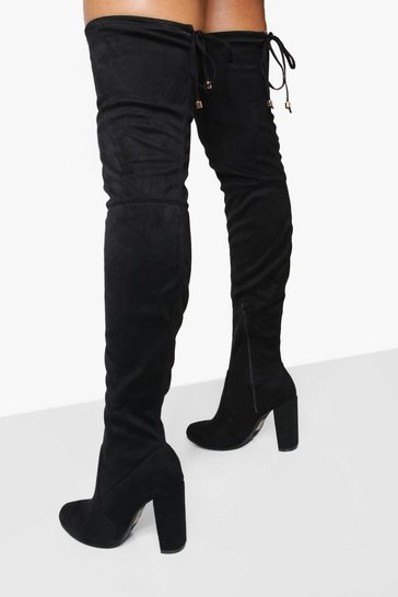 Black Block Heel Tie Back Thigh High Boots