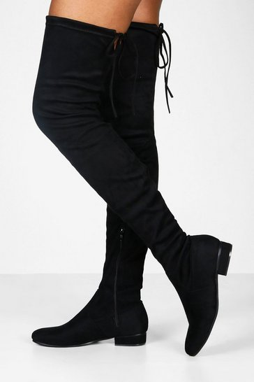 Black Flat Tie Back Thigh High Boots