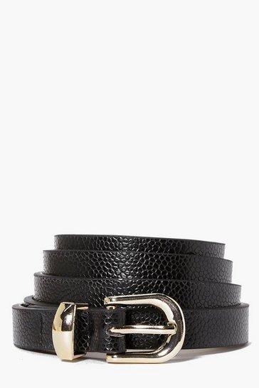 Black Basic Skinny Belt