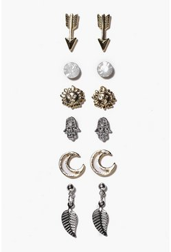 Multi Arrow And Moon Mixed Stud Earring Set