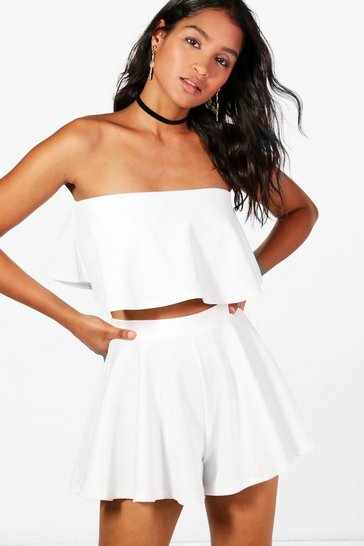 Ivory white Bandeau Crop And Shorts Co-Ord Set