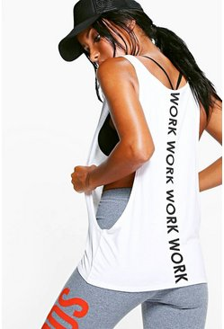 White Fit Work Slogan Running Singlet