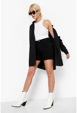 Black High Waisted Denim Mom Shorts