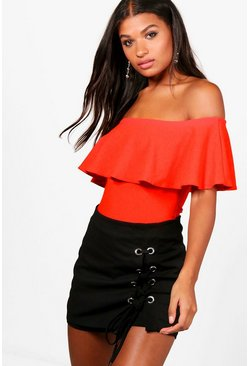 Black Crepe Frill Off The Shoulder Bodysuit