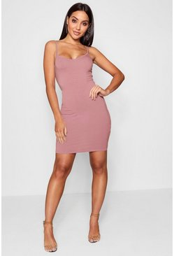 Antique rose pink Basic Strappy Cami Bodycon Dress
