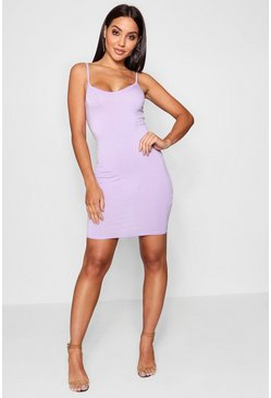 Lilac purple Basic Strappy Cami Bodycon Dress