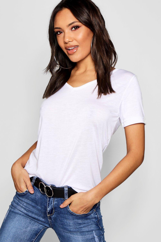 TOPS White Basic Super Soft V Neck T-Shirt