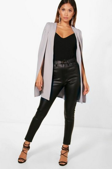 Dove grey Longline Tailored Crepe Cape