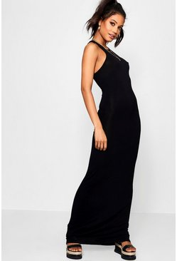 Black Basic Racer Front Maxi Dress
