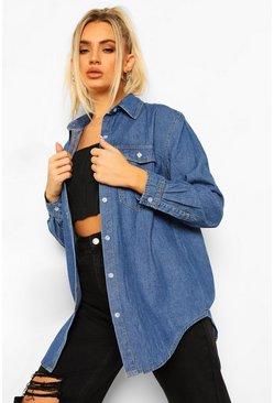 Mid blue blue Oversized Denim Shirt